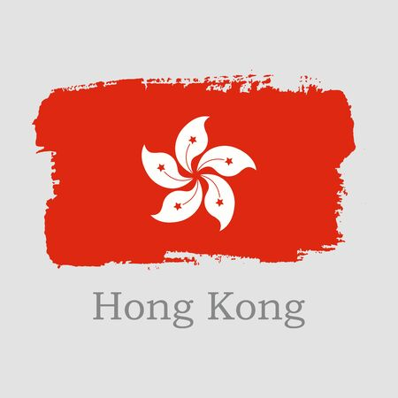 Vector Illustration. Hand draw Hong Kong flag. National Hong Kong banner for design on grey background Illustration