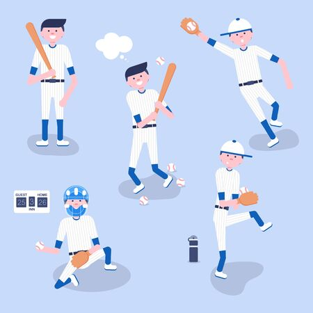 Vector Illustration. Set of baseball  cartoon players: catcher, pitcher in modern flat style. Baseball equipment icon. Baseball characters team