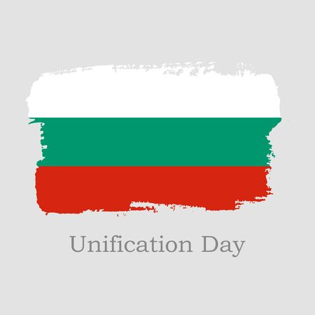 Vector Illustration. Hand draw Bulgaria flag. National Bulgaria banner for design on grey background. Unification Day