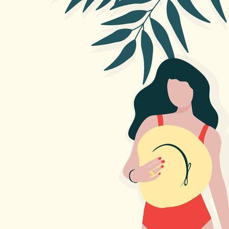 Young long-haired girl with hat in red swimsuit staying near the wall with tropical leaves. Summer vacation, cool party concept. Vector illustration