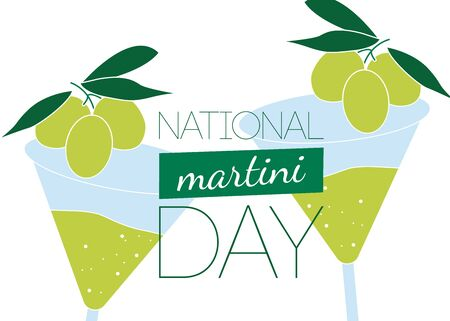 National Martini Day vector. Martini drink with olive vector. Martini glass with olive icon. National Martini Day Poster, June 19. Vector Illustration in Flat style