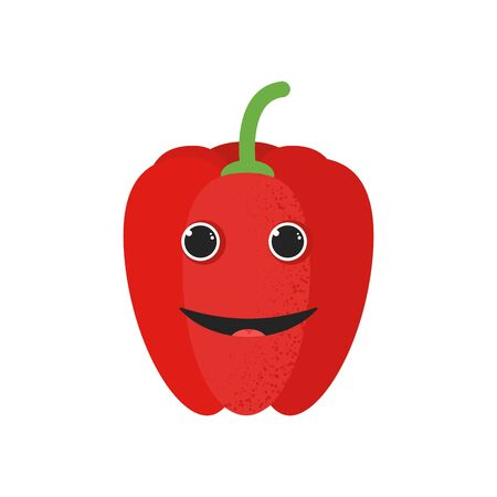 Isolated cute cartoon red pepper drawing. Organic paprica character vector illustration. Emoji. Smiley face