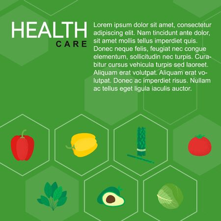 Healthy isolated food icon vegetables. Green veg dish poster in flat style. Meal concept vector illustration for flyer, card, background. Organic food