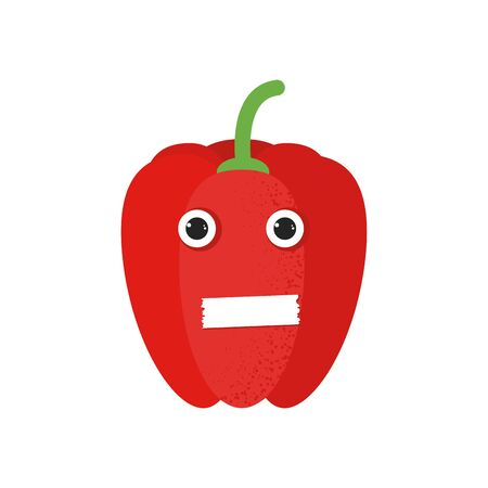 Isolated cute cartoon red pepper drawing. Organic paprica character vector illustration. Emoji. Close mouth Face