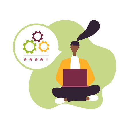 The best estimate of performance, the score of five points. People leave feedback and comments, successful work is the highest score for support. Isolated vector illustration appraisal concept Stock Vector - 129196593