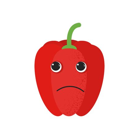 Isolated cute cartoon red pepper drawing. Organic paprica character vector illustration. Emoji. Pensive Face Иллюстрация