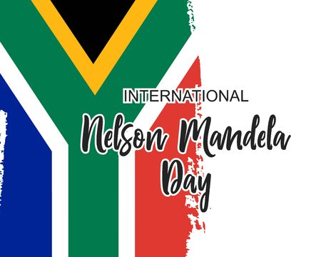 Hand draw flag South Africa with words International Nelson Mandela Day in vector format. Concept poster or background for celebration day 18 July. Social freedom symbol background Çizim