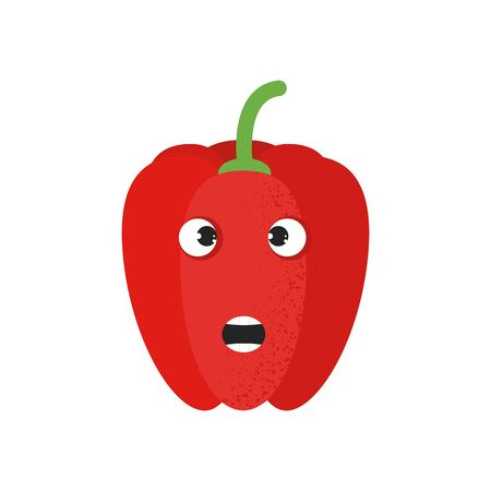 Isolated cute cartoon red pepper drawing. Organic paprica character vector illustration. Emoji. Face With Open Mouth