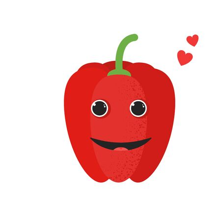 Isolated cute cartoon red pepper drawing. Organic paprica character vector illustration. Emoji. Smiling Face With Heart Иллюстрация