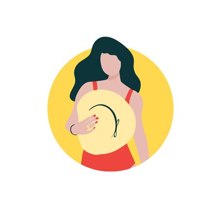 Young long-haired girl with hat in red swimsuit staying near the wall in circle. Summer vacation, cool party concept. Vector illustration icon. Modern flat style