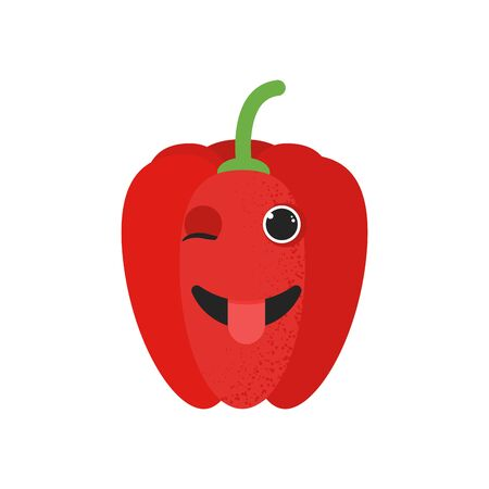 Isolated cute cartoon red pepper drawing. Organic paprica character vector illustration. Emoji. Winking Face With Tongue