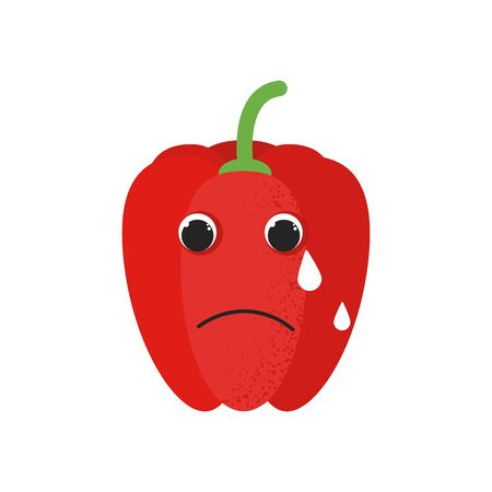 Isolated cute cartoon red pepper drawing. Organic paprica character vector illustration. Emoji. Loudly Crying Face