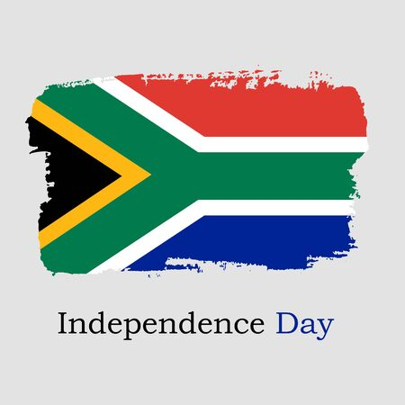 Hand draw South Africa flag. National South Africa banner for design on grey background. Independence Day. Vector Illustration