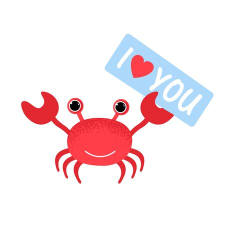 I love you. Cute cartoon red crab drawing. Crab character vector illustration with heart. Emoji. Smiling Face crab with tablet I love you