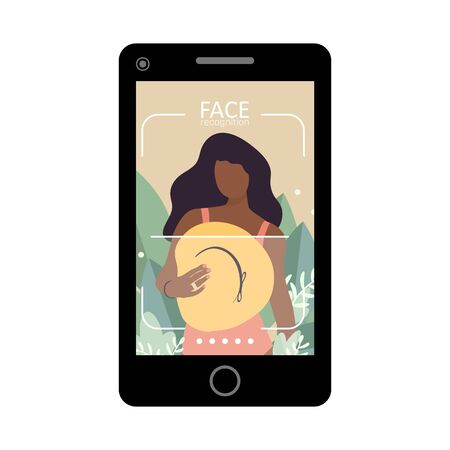 Facial recognition and identification concept. Face ID, face recognition system. Smartphone with scanning app on screen. Modern application. Flat design graphic elements. Vector illustration