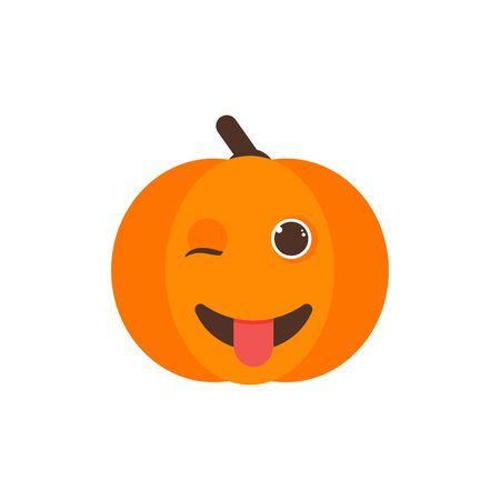 Isolated pumkin cute smile character. Cartoon halloween symbol. Vector Illustration. Emoji. Winking Face With Tongue 向量圖像