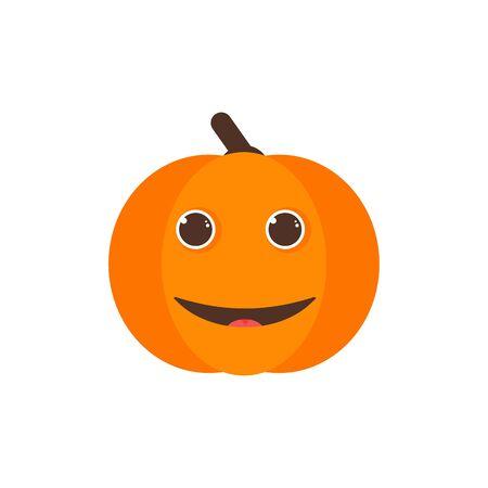Isolated pumkin cute smile character. Cartoon halloween symbol. Vector Illustration. Emoji. Smiley face