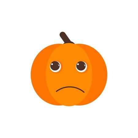 Isolated pumkin cute smile character. Cartoon halloween symbol. Vector Illustration. Emoji. Pensive Face 版權商用圖片 - 129197431