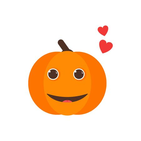 Isolated pumkin cute smile character. Cartoon halloween symbol. Vector Illustration. Emoji. Smiling Face With Heart 版權商用圖片 - 129197433