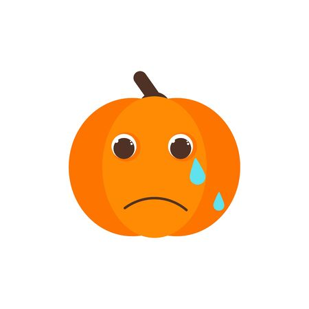 Isolated pumkin cute smile character. Cartoon halloween symbol. Vector Illustration. Emoji. Loudly Crying Face