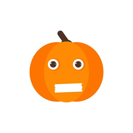Isolated pumkin cute smile character. Cartoon halloween symbol. Vector Illustration. Emoji. Close mouth Face 版權商用圖片 - 129197973