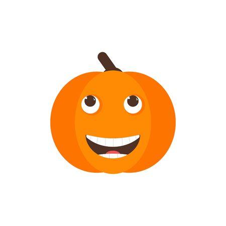 Isolated pumkin cute smile character. Cartoon halloween symbol. Vector Illustration. Emoji. Haha emoji. Smiley face