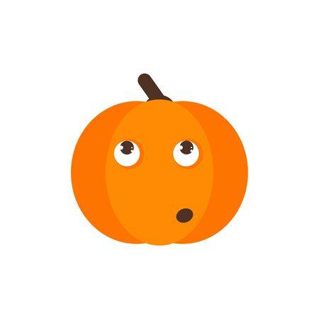 Isolated pumkin cute smile character. Cartoon halloween symbol. Vector Illustration. Emoji. Face With Rolling Eyes 版權商用圖片 - 129197988