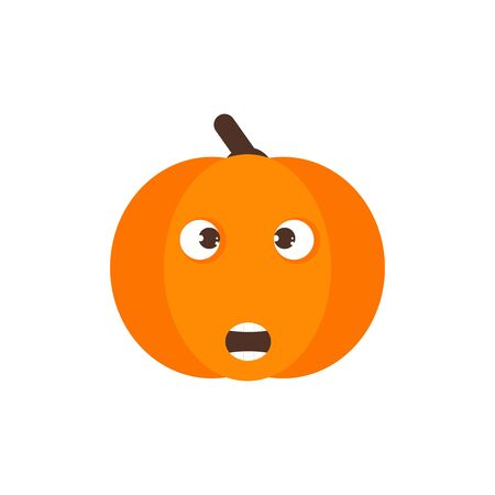 Isolated pumkin cute smile character. Cartoon halloween symbol. Vector Illustration. Emoji. Face With Open Mouth 版權商用圖片 - 129197986