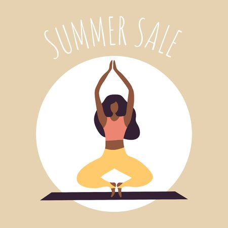 Afro-american woman doing yoga. Summer sale poster in flat style.  Vector Illustration for shopping. Stylish concept for season sale.