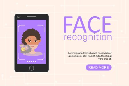Facial recognition and identification concept. Face ID, face recognition system. Smartphone with scanning app on screen. Modern application. Flat web design graphic elements. Vector illustration