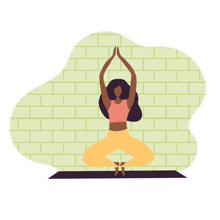 Afro-american woman doing yoga. Time for yoga concept background. Relax woman in flat style. Vector Illustration for sport and healthy life