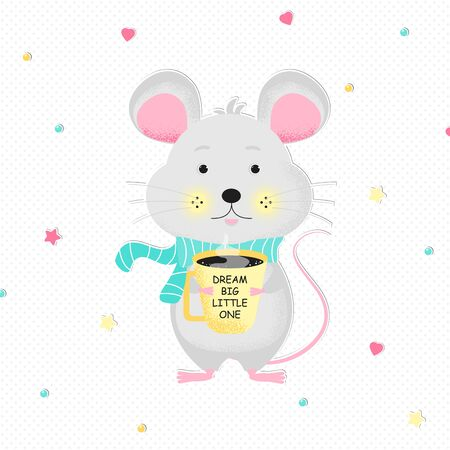 Cute cartoon mouse in scarf. Vector poster for boy or girl baby shower card, birthday card background with words Dream Big Little One.  Vector Illustration