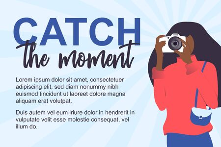 Isolated young woman doing photo. Woman in modern flat style.  Web concept. Photography girl with camera in hand. Vector Illustration Иллюстрация