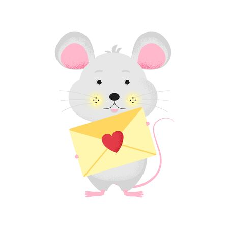Isolated cute cartoon Mouse with letter. Email icon. Mouse with post.   New Year card, t-shirt composition, handmade, animal symbol of 2020. Vector illustration Foto de archivo - 129198219