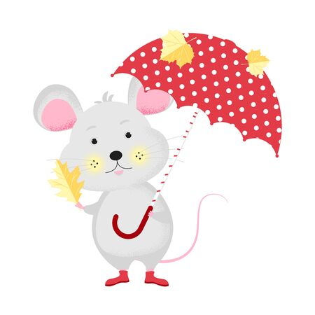 Isolated cute cartoon Mouse with umbrella and autumn leaves.  New Year card, t-shirt composition, handmade, animal symbol of 2020. Vector illustration Ilustracja