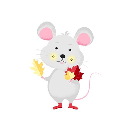 Isolated cute cartoon Mouse autumn leaves.  New Year card, t-shirt composition, handmade, animal symbol of 2020. Vector illustration
