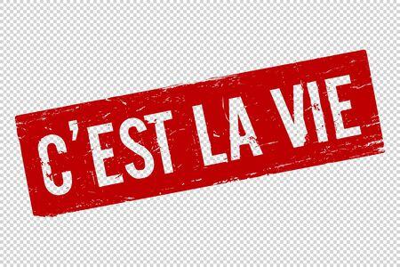 Grunge red C est la Vie square rubber seal stamp on transparent  background. Retro Icon for design. C est la vie sign. Vector illustration