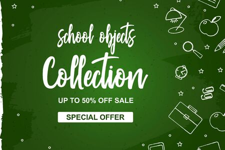 Set of school elements on green blackboard. Poster Sale school collection on hand draw splodge. Shop now, 50 off. Vector Illustration.