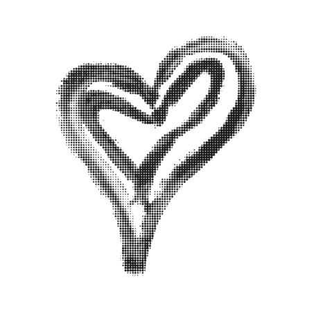 Hand drawn heart using circle. Love symbol. Heart icon for logo, background, web concept. Vector Illustration