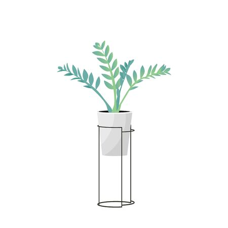 Home plant for style design window or house interior. Stand with green   modern home flowers. Elements for concept hygge room. Isolated garden decoration, vector illustration