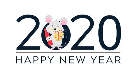 Isolated cute cartoon Mouse with gift and bottle of wine. Mouse going to holiday. New Year card, t-shirt composition, handmade, animal symbol of 2020. Vector illustration