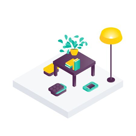 Sitting room isometric interior design composition with cumbersome objects lounge furniture, floorlamp and books. Vector illustration