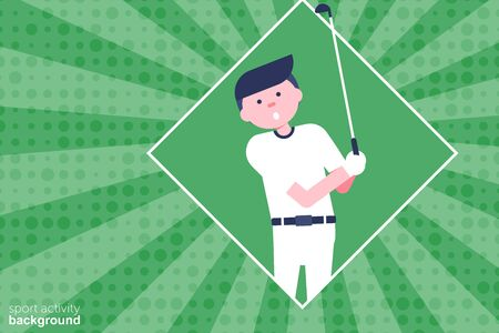 Golf cartoon character in flat style. Golf player with putter. Retro style. Background. Vector Illustration