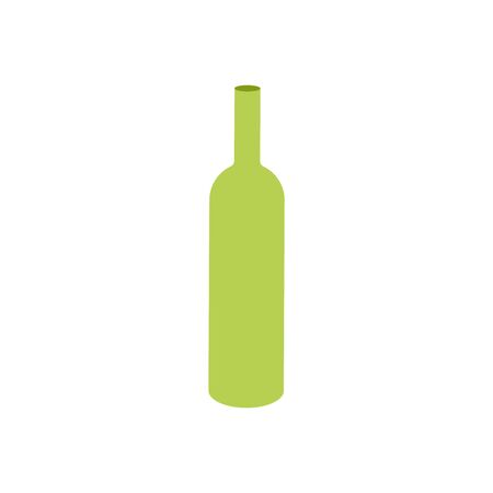 Isolated bottle icon of wine. Empty glass object for design. Vector Illustration