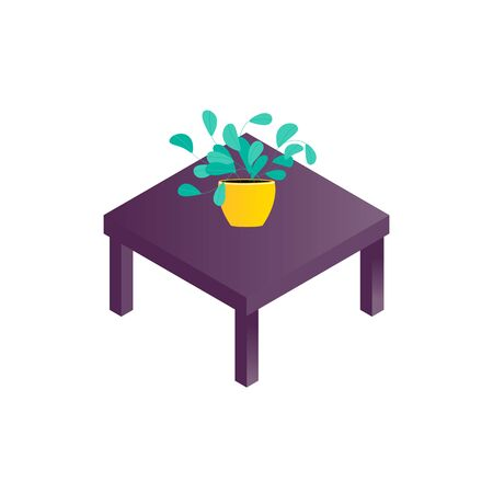 Isolated plant in the pot on coffee table in isometry style for home style. Flowerpot icon and table for apartment design in web page. Vector illustration
