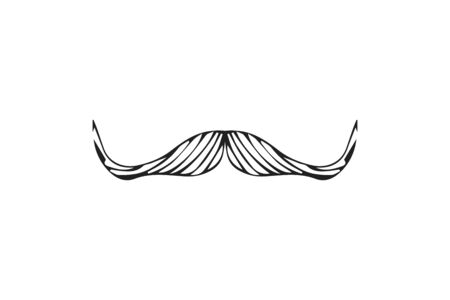 Isolated doodle style moustache sketch in vector format. Handlebar mexican black icon. Clipart outline element for barbershop. Ilustração