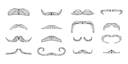 Set of isolated doodle style moustache sketch in vector format. Handlebar mexican black icon. Clipart outline element for barbershop. Ilustração