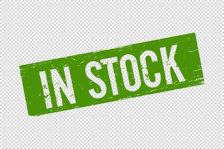 Grunge green In Stock square rubber seal stamp on transparent  background. Retro Icon for design. In Stock sign. Vector illustration Foto de archivo - 131284908