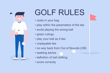 Golf player explaining simple golf rules. Poster for design web page, sport site, shop in modern flat format. Vector Illustration