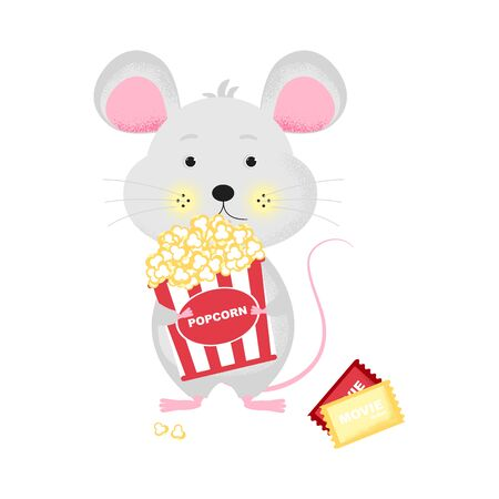 Isolated cute cartoon Mouse with popcorn bucket going to cinema. Ticket icon. Mouse with bucket.   New Year card, t-shirt composition, handmade, animal symbol of 2020. Vector illustration Иллюстрация